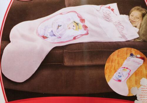 DISNEY PRINCESS CHRISTMAS COVER UP Throw Blanket Kids Pink Stocking Holidays NEW
