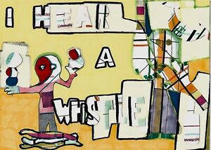 ORIGINAL-ART-Colourful-Outsider-Style-Collage-5-034-x-7-034-I-Hear-A-Whistle