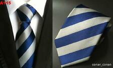 Blue and Grey Silver Stripe Patterned Handmade 100% Silk Wedding Tie