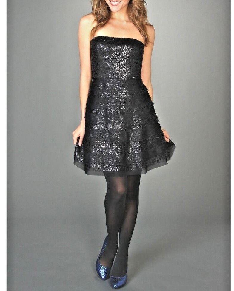 . BCBG MAX AZRIA Seri Strapless Sequin Layered  Embellished Dress M r544