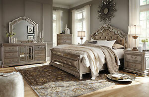Image Is Loading MONTEGO 5 Pieces Traditional Silver Bedroom Set Furniture