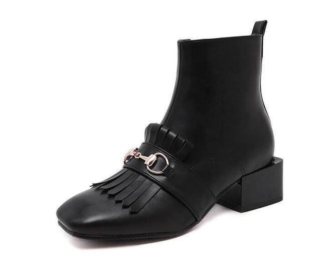 botas bajo Zapatos botas Militares 4 cm Negro Elegantes Piel Sintético 9440