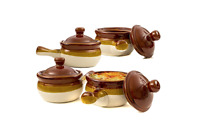 Soup Bowls With Handles Lids Set Of 4 Oven Safe Crocks Classic French Onion 15oz