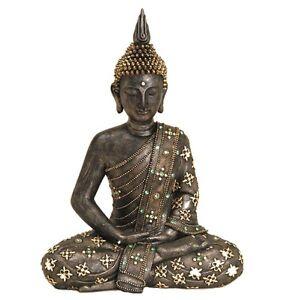 BUDDHA-Deko-Asien-Thailand-Meditation-Figur-Statue-Skulptur-FENG-SHUI-Bronze-neu