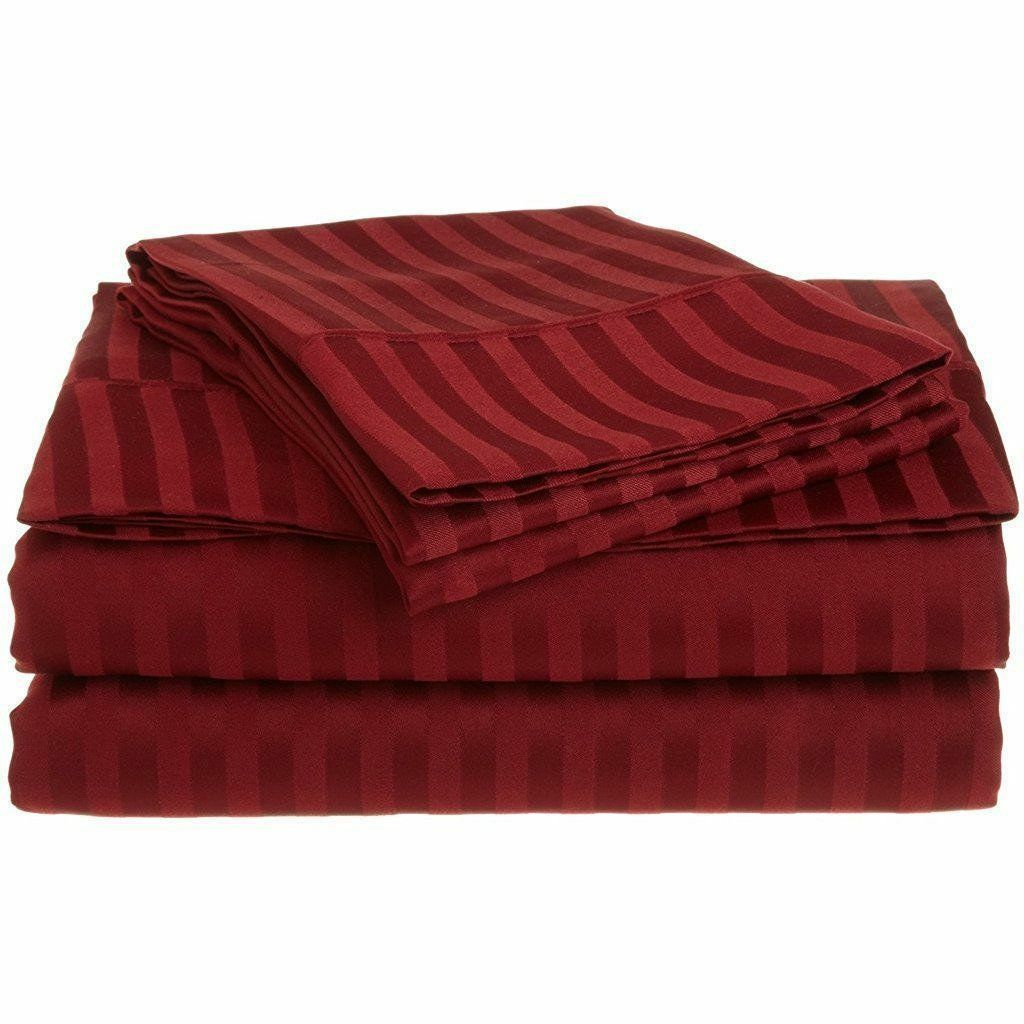 Elastic All Around Fits Fitted Sheet Burgundy Stripe All Deep Pkt & Größe 1000 TC