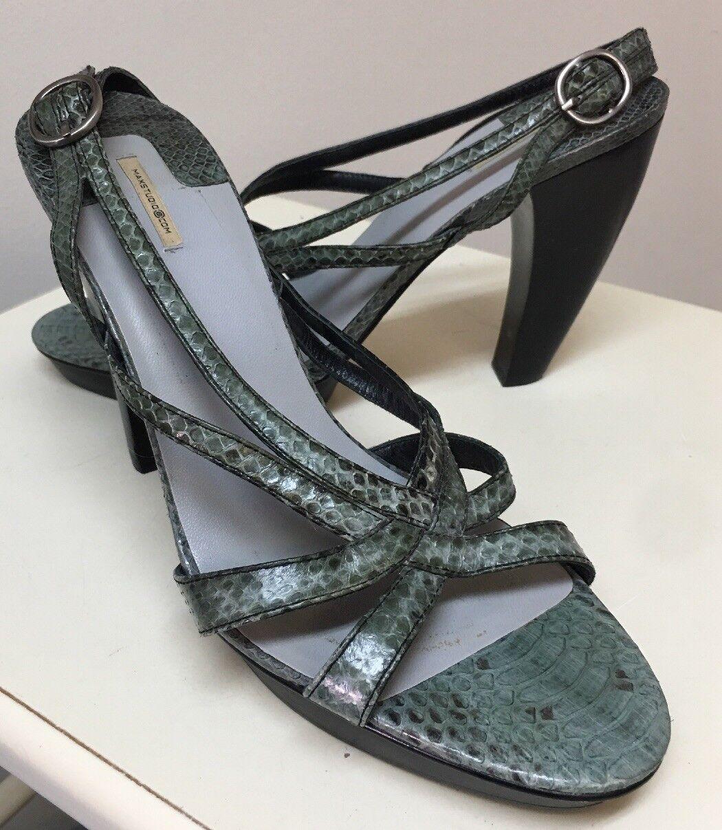 Max Studio Sandal Size 9 Snakeskin Open Toe Pump Heel Platform Curved Beautiful