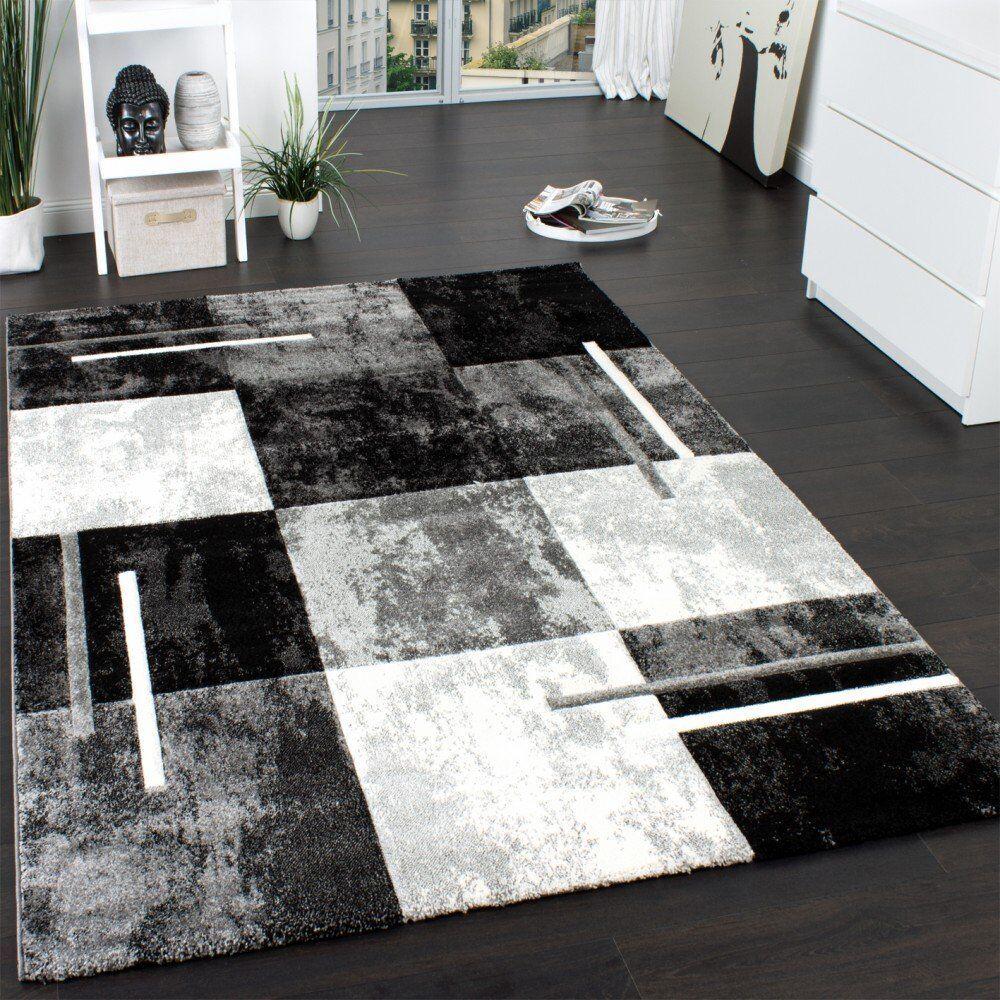 Alfombra Negra y blancoa geométrica Salón gris Hall Alfombra Corrojoor Pequeño Grande