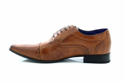 Mens Route21 M9549 Smart Oxford Formal Lace Up Shoes Brown Burnished PU