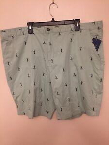 George Big Men/'s Casual Flat Front Cargo Shorts Hula Girl Green Dress Size 44 46
