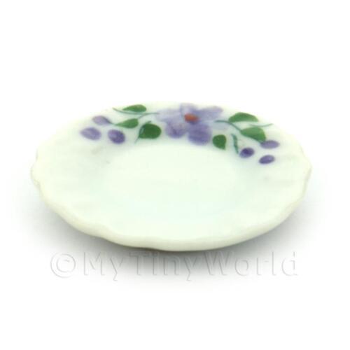 4x DOLLS HOUSE miniatura VIOLA VIOLET Design 22 mm piastre in ceramica