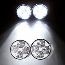 2x White 4 LED Round Car DRL Driving Daytime Running Lights Fog Day Lamp
