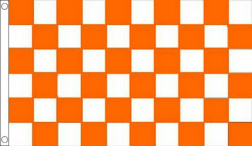 5/' x 3/' Tangerine Orange and White Check Flag Checkered Banner