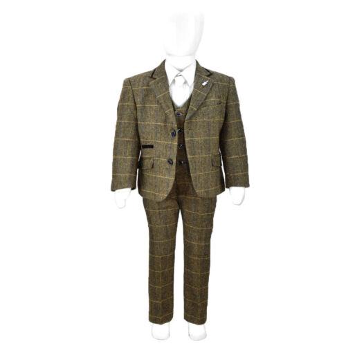 Kids Childrens Boys Peaky Blinders Tweed 3 Piece Suit Blazer Waistcoat Trousers