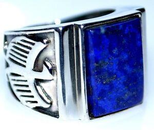 Para-Hombre-Lapis-Anillo-de-plata-esterlina-logotipo-de-Eagle-Azul-Gem-925-Anillos-todos-los-tamanos