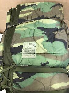 new-ONE-US-Military-Surplus-USGI-Woodland-Camo-Poncho-Liner-WOOBIE-Blanket-1990s