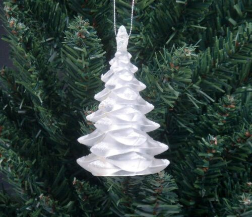 *Ship From U.S* Christmas Holiday Ornament Sculpture White Flakes Pine Tree