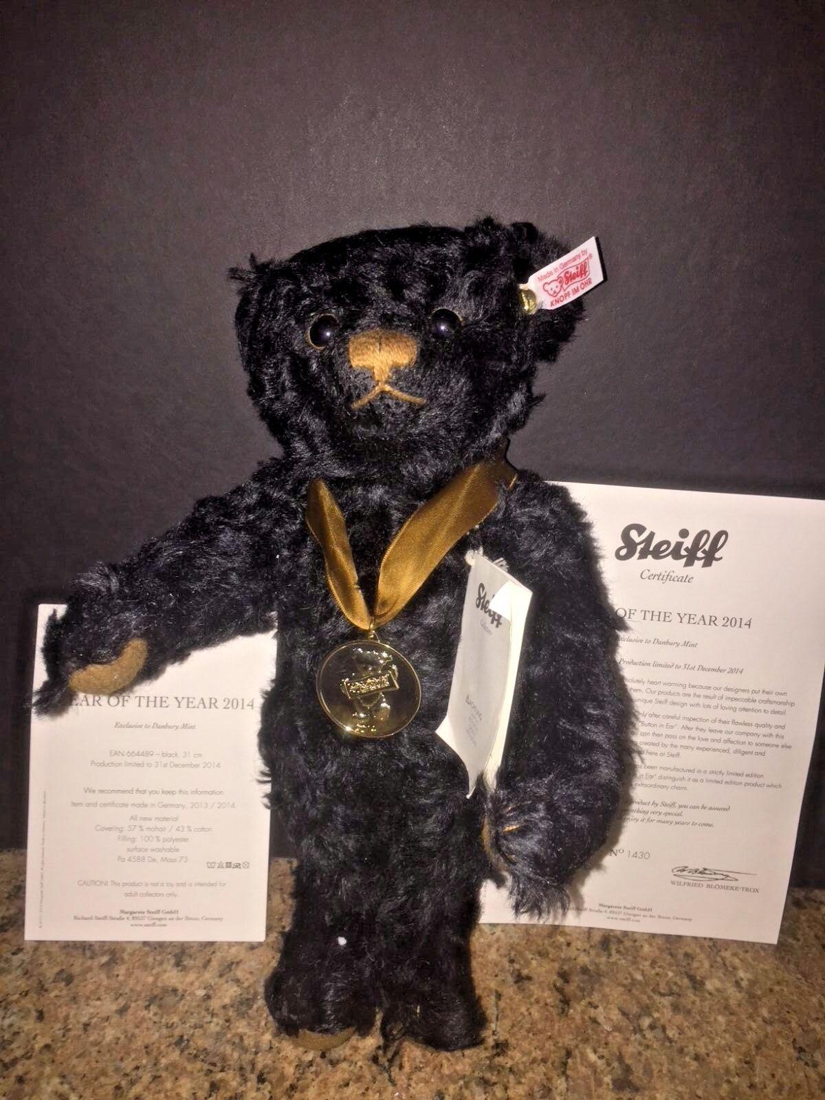 RARE STEIFF MOHAIR JOINTED schwarz  BEAR OF THE YEAR 2014   LTD. ED. 1,500
