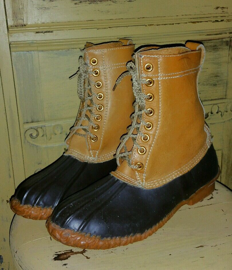 VINTAGE PIONEER LEATHER RUBBER BROWN DUCK HUNTING BOOTS MUKLUKS 9 9 9 M gold SEAL 91f7f6