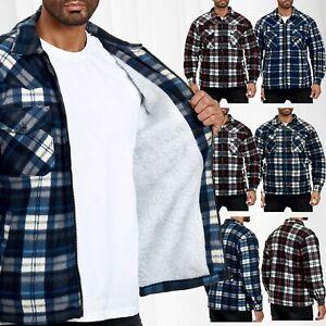Messieurs-bucheron-Chemise-a-carreaux-Thermo-Doublure-Veste-Flanelle-Fleece-Sweat-Shirt