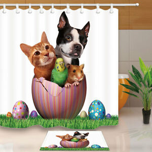 Image Is Loading Easter Pets Dog And Cat Bathroom Fabric Shower