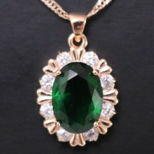 Green-Emerald-Round-Diamond-Halo-Pendant-Necklace-14K-Gold-Plated-Jewelry