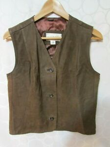 Austin Reed Brown Leather Button Waistcoat Vest Women S Size M Made In England Ebay