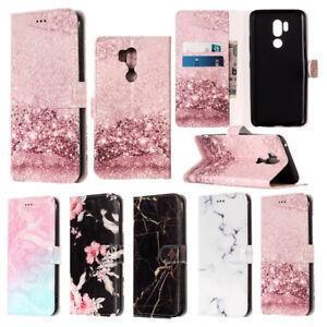 For-LG-V30-G7-K8-K10-2018-Patterned-Leather-Case-w-Card-Slots-Wallet-Flip-Cover