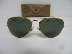 f42608aea3e31 Vintage B L Ray Ban Large Metal 58mm Gold G-15 Gray Aviator ...