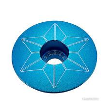 POWDER COATED NEON BLUE Supacaz STAR CAPZ Bicycle Stem Top Cap