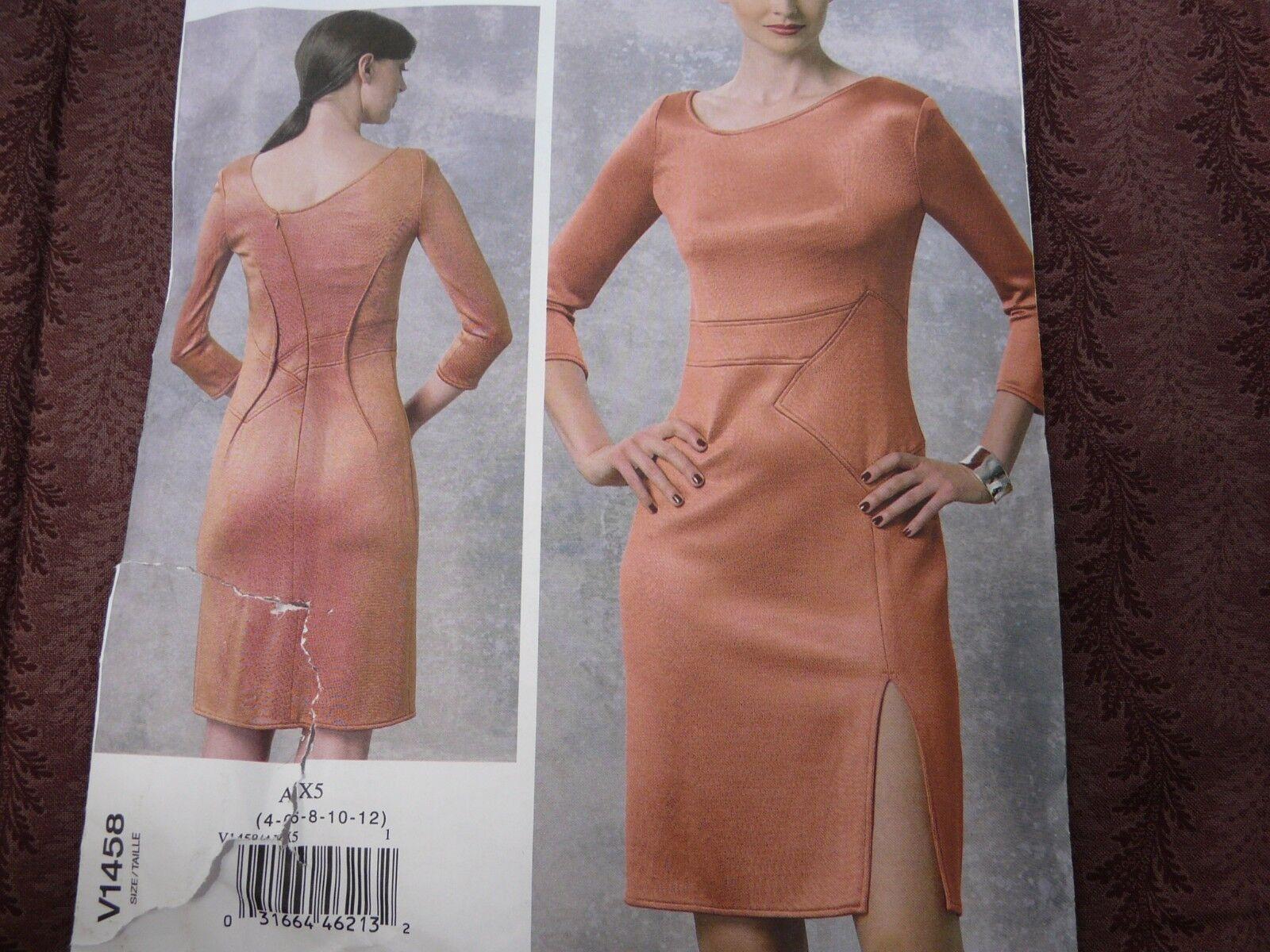 VOGUE PATTERN DRESS CLOSE FITTING RIGHT FRONT SLIT SIZE 4-12 or 12-20 # V1458