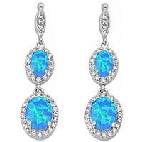 Pure Elegance Dangle Blue Opal & Cz .925 Sterling Silver Earrings on sale