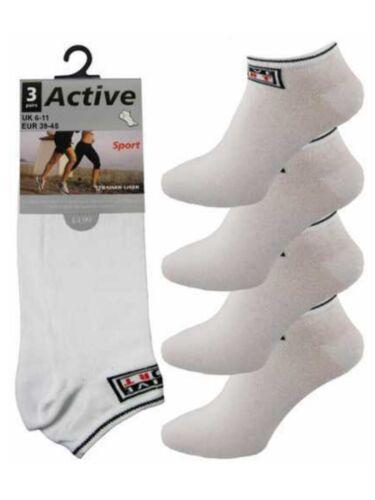 "12 da uomo bianco /""BIG FOOT/"" Active logo cotone ricco Trainer calzini Liner UK 6-11"