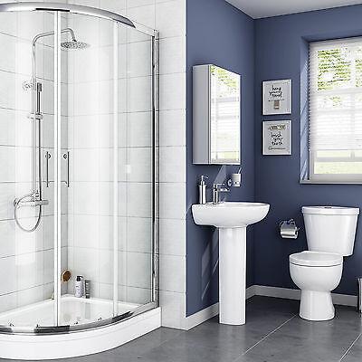 Modern Bathroom Suite Shower Enclosure Pedestal Basin Sink Close Coupled Toilet