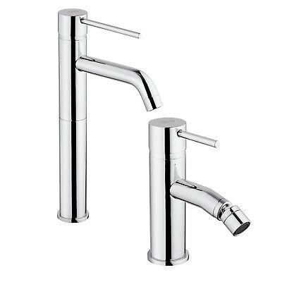 Set completo miscelatori bagno lavabo alto + bidet senza scarico Jacuzzi Gun