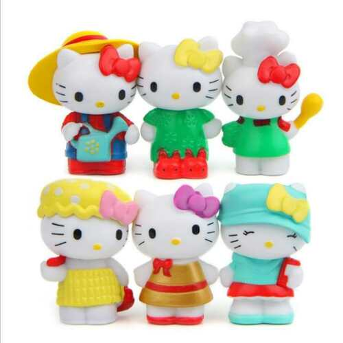 6ps Lovely HELLO KITTY ANIME ACTION FIGURE COLLECTION PVC Jouet Cadeau Gâteau Top