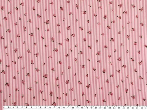 pink-weiß Streifen und Rosen 150c Popeline Baumwolldruck