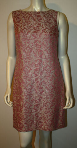ELIE TAHARI Pink Bone Jacquard Floral Shift Dress