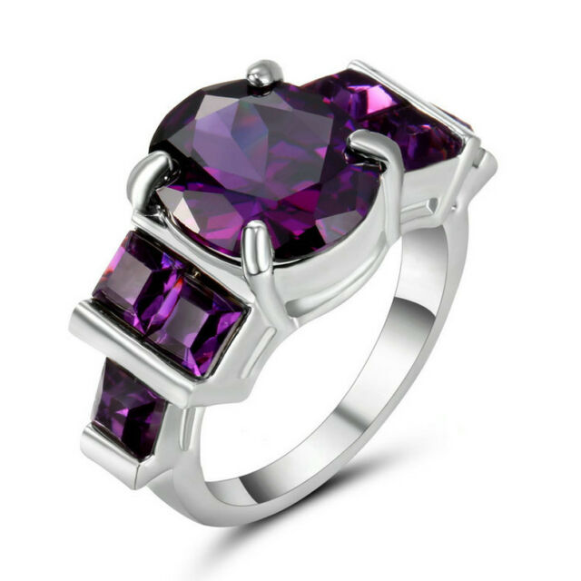 Purple Amethyst Cz Engagement Ring 10kt White Gold Filled Wedding Band Size 7