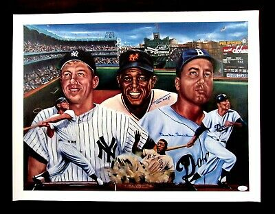 Sports Impressions Duke-Mickey-Willie Greatest Centerfielders Limited Gold Edition Plate Hand Signed By Duke Snider BEST OFFERS!