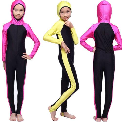Islamic Kids Girls Muslim Swimwear Full Cover Modest Bikini Beachwear Swimsuit