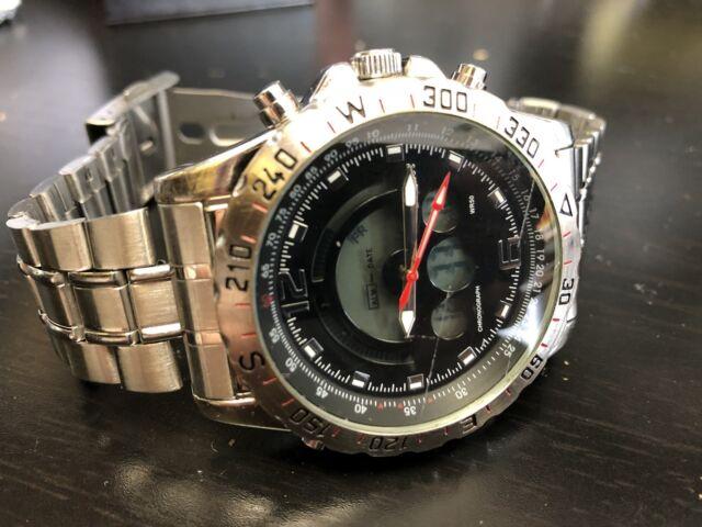 Men S Stauer Compendium Hybrid Watch Stainless Steel 19093 136