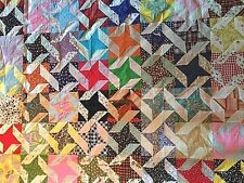 OLD QUILT Top... Unfinished...  late 70's ... Awesome Vintage Fabric PINWHEEL ??