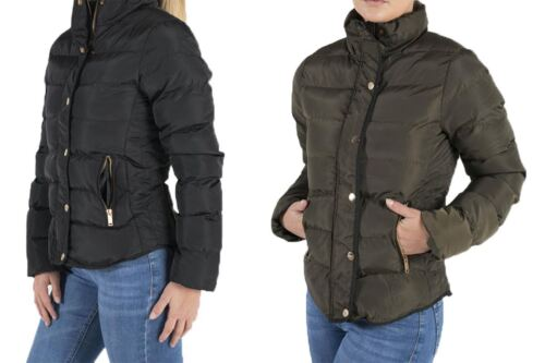 Womens Quilted Puffer Padded Short B15 Mid High Collar Warm Waterproof Jacket
