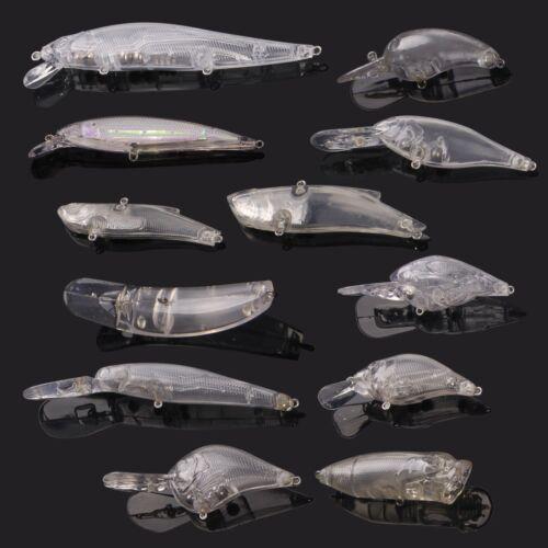 12pcs//set Unpainted Crank Bait Blank Crankbait Minnow Fishing Lure Bodies Tackle