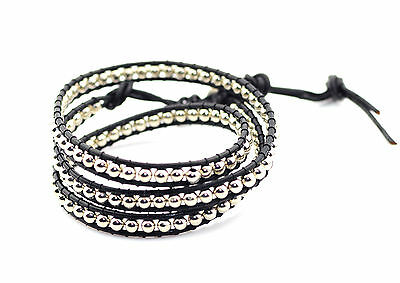 AB faceted 4mm glass beads 3 wrap bracelet real leather size adjustable