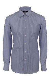 e323d9b5e0 Dettagli su Camicia a righe Azzurro Ingram puro Cotone No Stiro Regular Fit  collo Italiano