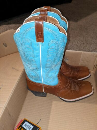 Ariat Womens Mesquite Cowboy Boots Brown and Blue