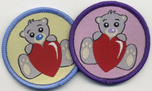 Teddy Bear and Heart Woven Patch Badge Motif 52mm Diameter Circle