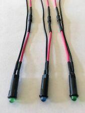 """5/32"""" LED DASH INDICATOR LIGHTS SET (2 Green 1 Blue w/ Built In Resistors)"""