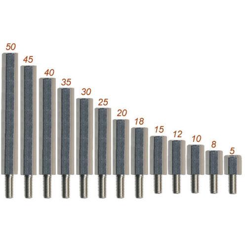Abstandsbolzen Messing vernickelt Innen//Aussen M-3 Länge 8 mm deutsche Qualität